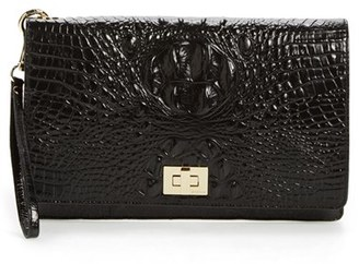 Brahmin 'Lily' Croc Embossed Leather Clutch - Black $165 thestylecure.com