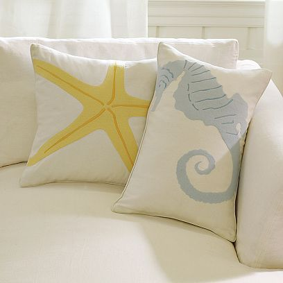 Embroidered Linen Sea Horse & Starfish Pillows