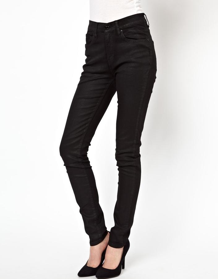 Dr Denim Regina Coated High Waist Skinny Jeans