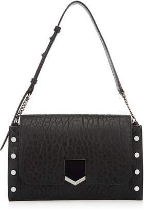 Jimmy Choo LOCKETT SHOULDER BAG Black Grainy Leather Shoulder Bag