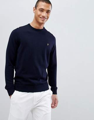 Farah Mullen merino wool sweater in navy