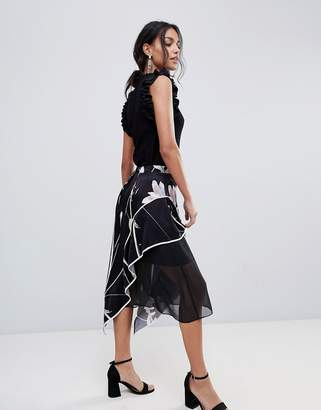 Coast Printed Soft Midi Skirt