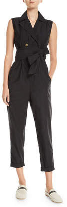 Brunello Cucinelli Sleeveless Double-Breasted Cotton-Silk Jumpsuit