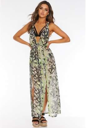 Quiz Neon Snake Print Beach Dress