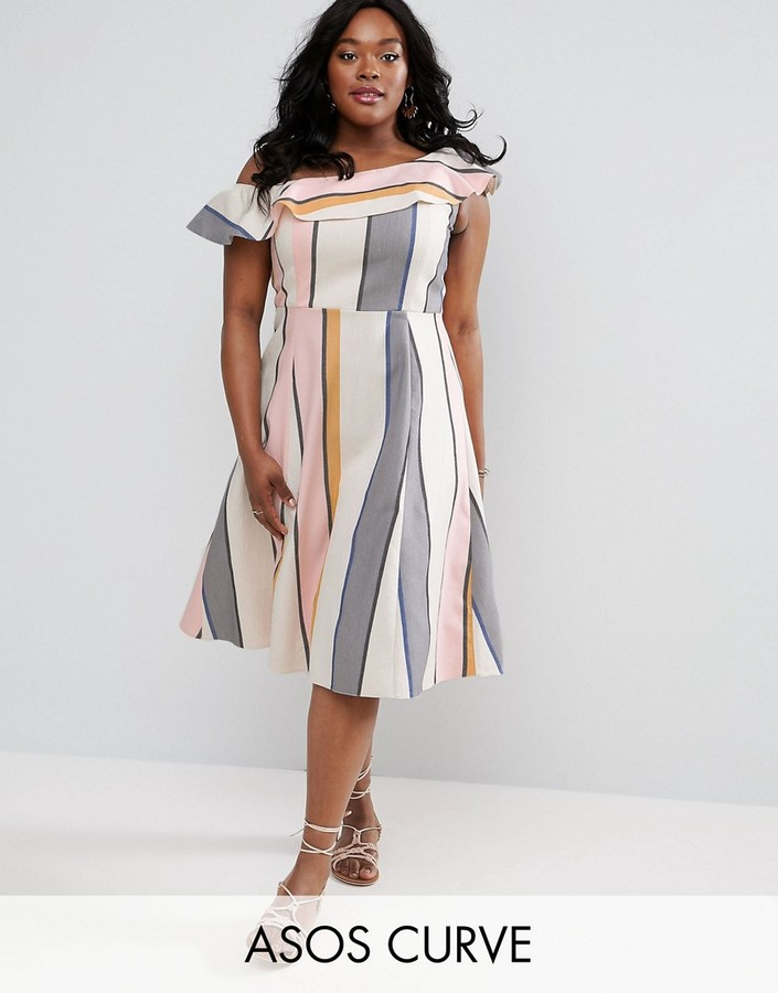 Asos One Shoulder Stripe Midi Sundress
