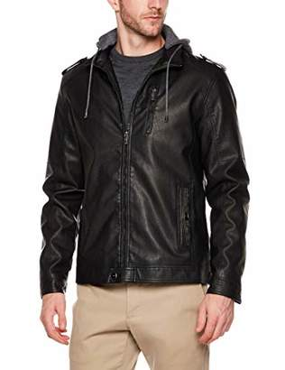Trimthread Men's Winter Stylish Front Zip Sherpa Lined Faux Leather Biker Jacket Detachable Hood (
