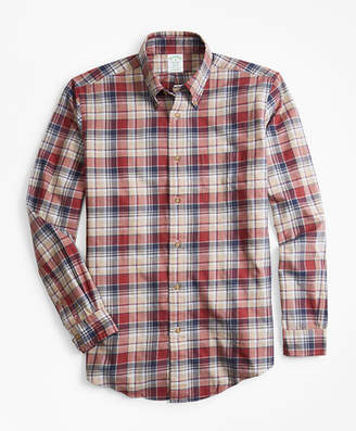 Brooks Brothers Milano Fit Camel Plaid Flannel Sport Shirt