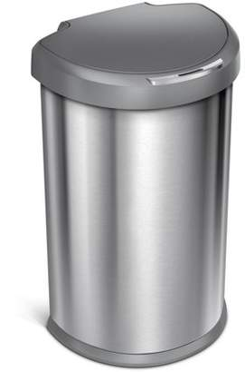 Simplehuman 45 Litre / 12 Gallon Semi-Round Sensor Trash Can Nano-Silver Clear Coat Stainless Steel Plastic Lid