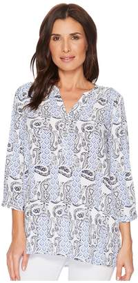 FDJ French Dressing Jeans Paisley Print Tab Up Sleeve Popover Top Women's Clothing