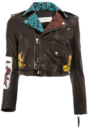 Faith Connexion painted cropped biker jacket