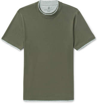 Brunello Cucinelli Slim-Fit Layered Cotton-Jersey T-Shirt - Green