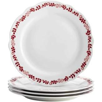 Bonjour Dinnerware Yuletide Garland 4-Piece Porcelain Stoneware Fluted Dinner Plate Set, Print