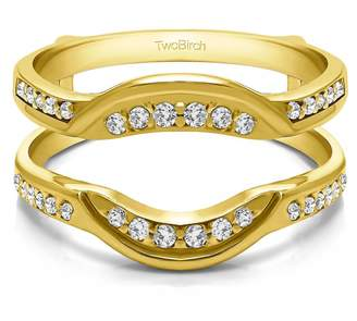Charles & Colvard TwoBirch Contoured Bridal Wedding Ring Guard with 0.22 carats of Forever Brilliant Moissanite by Charles Colvard in 10k Yellow gold