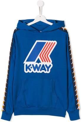 K-Way K Way Kids x Kappa TEEN logo print hoodie