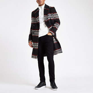 River Island Black and red brushed check wool overcoat