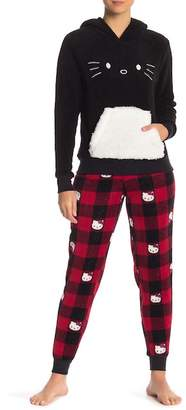 Hello Kitty Faux Shearling Trim Plush Pajama Set