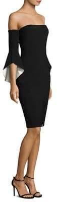 LIKELY Women's Ramona Off-The-Shoulder Bell-Sleeve Sheath Dress - Rumba Black - Size 12