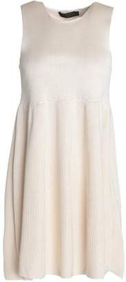 Calvin Klein Collection Pleated Knitted Silk Mini Dress