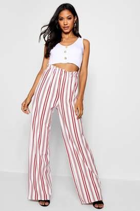 boohoo Crepe Stripe Paperbag Wide Leg Trouser