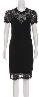 L'Agence Lace Short Sleeve Knee-Length Dress