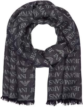Armani Jeans Men's All Over Eagle Logo Scarf, Navy