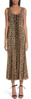 Fuzzi Leopard Print Tulle Maxi Dress