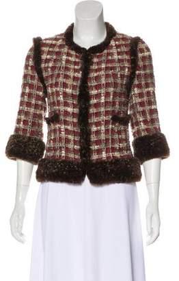 Chanel Fur-Trimmed Silk-Blend Blazer