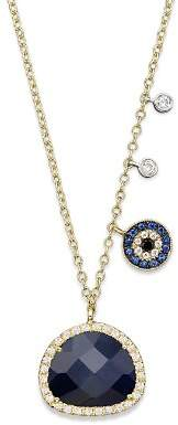 """Meira T 14K Yellow Gold Sapphire Evil Eye Disc Necklace with 14K White Gold Side Bezels, 16"""""""