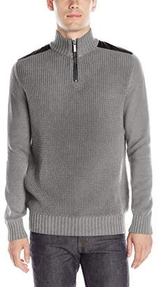 Kenneth Cole New York Kenneth Cole Men's Half-Zip Sweater with Faux-Leather Piecing