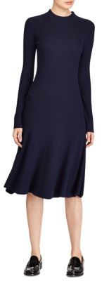 Polo Ralph Lauren Ribbed Casual Long-Sleeve Merino Wool Dress $298 thestylecure.com