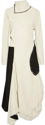 Acne Studios Dragica Asymmetric Open-back Paneled Linen-blend Dress - Beige