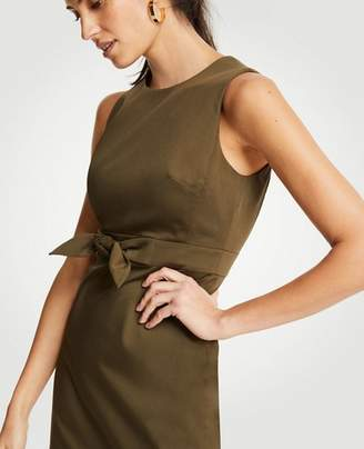 Ann Taylor Petite Cotton Sateen Tie Front Sheath Dress