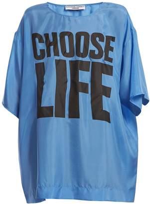 Katharine Hamnett Choose Life print silk T-shirt