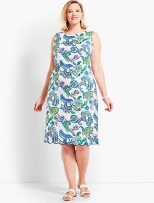 Talbots Paisley Scallop-Hem Sheath Dress