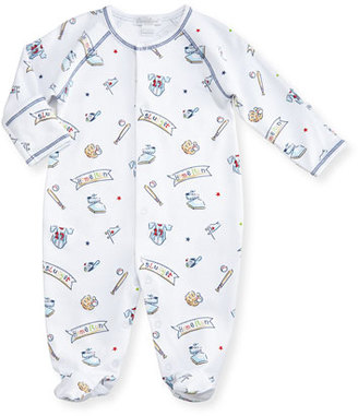 Kissy Kissy Slugger Printed Pima Footie Pajamas, Blue/White, Size 0-9 Months $40 thestylecure.com