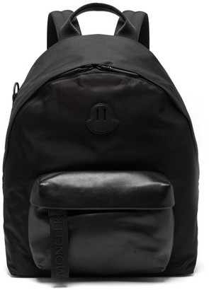 Moncler - Logo Leather And Nylon Backpack - Mens - Black