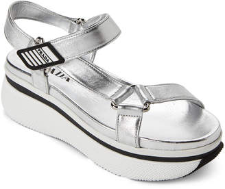 Prada Silver Strappy Platform Sandals