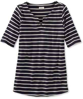 French Sailor Shirt, Elbow-Sleeve Split-Neck