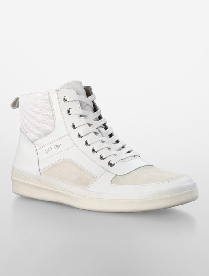 Calvin Klein White Vaughn Action Leather + Suede High Top Sneaker