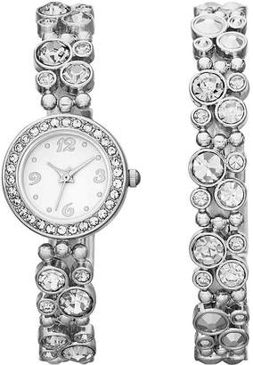 JCPenney FASHION WATCHES Womens Crystal-Bubble Watch and Bracelet Set