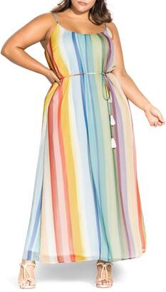 City Chic Gelato Stripe Maxi Dress