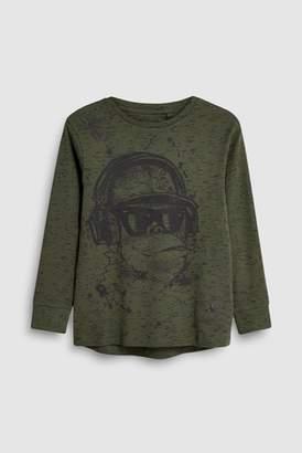 Next Boys Khaki Print Long Sleeve T-Shirt (3-16yrs)