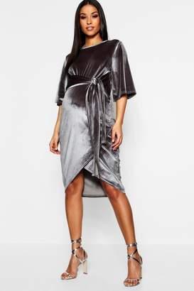 boohoo Maternity Velvet Kimono Sleeve Tie Waist Midi