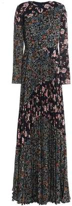 Mikael Aghal Pleated Floral-Print Crinkled Georgette Gown