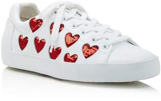 Ash Nikita Sequin Heart Lace Up Sneakers
