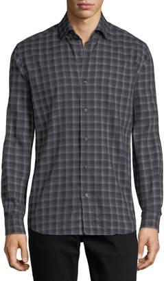 Neiman Marcus Multi-Striped Sport Shirt, Black/Gray