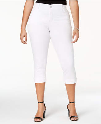 Lee Platinum Plus Size White Slim Cropped Jeans