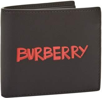 Burberry Graffiti Print Leather Bifold Wallet