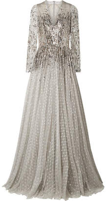 Jenny Packham Blanche Metallic Sequined Tulle Gown - Silver