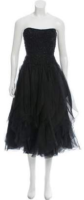 Marchesa Embellished Strapless Dress